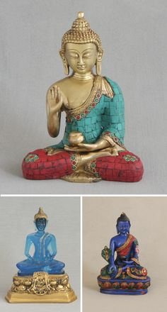 Buddha Statues: Buddha Statue with Colorful Detailing, Brass Translucent Blue Thai Buddha Statue, Antique Gold Base Multicolored Blue Medicine Buddha Statue Thai Buddha Statue, Buddha Statues, Religious Art, New Age, Irene, Antique Gold, Witches, Awakening, Meditation