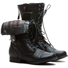 CiCiHot Plaid It Up Black Fold Over Faux Leather Combat Boots ($39) ❤ liked on Polyvore featuring shoes, boots, lace up boots, black boots, mid-calf boots, vegan combat boots y army boots