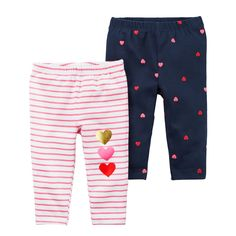bcc6c3584607b Baby Girl Carter's 2-pk Heart & Stripe Pattern Leggings, Blue Knit  Leggings