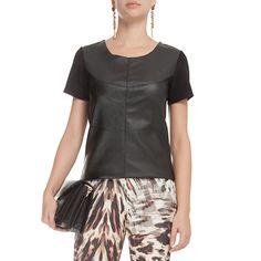LETAGE - T-shirt Letage couro eco - preta - OQVestir