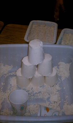 MOON SAND: Just 8 cups of flour and 1 cup of baby oil, really soft and easy to clean up. How fun!.