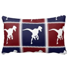Fun Blue Red T Rex Dinosaur Square Pattern Throw Pillows