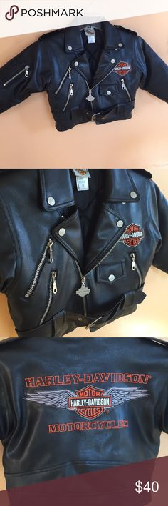 🤘Harley-Davidson kids biker jacket size 4🤘 Awesome condition no holes or stains. This jacket is so bad ass for someone's little man or woman! Jacket is heavy so it will definitely be warm. All zipper areas are real pockets. Emblems in perfect condition. Length of coat is 15 inches. Machine washable ladies! 100% pvc simulated leather. Comes from a smoke free home. Harley-Davidson Jackets & Coats