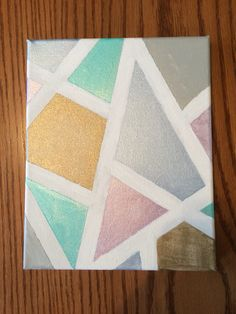 Metallic geometric canvas painting easy DIY with painters tape