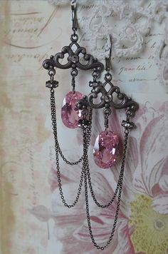 Glorious pink CZ and rhinestone chandelier earrings by Purrrls