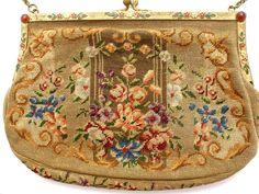 Austrian Petit Point Enamel Gemstone Frame Purse Carnelian Vintage Tapestry Bag #TheJewelryLadysStore #EveningBag
