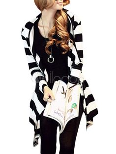 Black & White Striped Cardigan with Irregular Design - Save Up to 70% Off on fabulous fashion trend products at Milano with Coupon and Promo Codes.