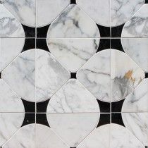 Highland Floret Black and Statuario Marble Tile $46.95  TileBar 2017 for entryway