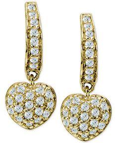 Giani Bernini Cubic Zirconia Pavé Heart Drop Earrings in 18k Gold-Plated Sterling Silver, Only at Macy's   macys.com