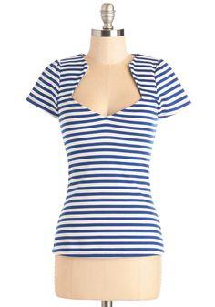 Ooh La La Lady Top in Blue Stripes