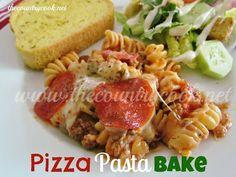 The Country Cook: Pizza Pasta Bake (baked pasta recipes italian seasoning) Italian Dishes, Italian Recipes, New Recipes, Dinner Recipes, Cooking Recipes, Favorite Recipes, Freezer Cooking, Amazing Recipes, Yummy Recipes