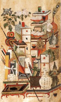 The Painting of Stationary or Writing Materials and Books. 책거리 As paintings displayed in the study rooms of scholars, they show the life in the era that respected learning. Korean Painting, Chinese Painting, Korean Traditional, Traditional Art, Korean Art, Korean Style, China Art, Old Paintings, Traditional Paintings