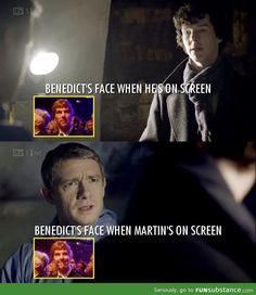 I don't ship Johnlock but still adorable. << That has nothing whatsoever to do with johnlock. Thats Ben and Martin.>>They're such good friends Sherlock Holmes, Sherlock Fandom, Sherlock Quotes, Sherlock John, Jim Moriarty, Funny Sherlock, Sherlock Cast, Watson Sherlock, Johnlock