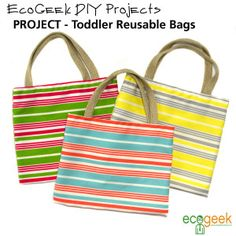 DIY Reusable Bags for Kids Diy Reusable Bags, Reusable Shopping Bags, Room Crafts, Kids Bags, Sewing Patterns, Diy Projects, Tote Bag, Boutique, Random