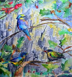 vogel city kw art, illustration, urban , kunst, city, birds, nature , watercolor, aquarell, forest, drawing, sketch, poster ---- by kaddy woerl