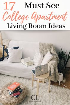 The best college apartment living room decoration ideas on a budget.  These simple college apartment living room ideas are perfect for small spaces. #college #apartment