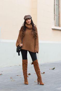 08e3a081f look comodo estiloso idea como combinar leggings con jersey de lana gorra y  botas altas