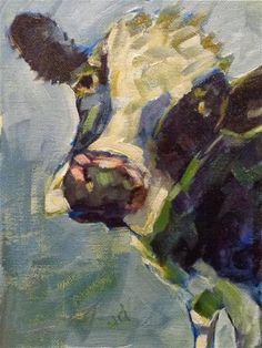"Daily Paintworks - ""Cow 15...Im blue for you"" - Original Fine Art for Sale - © Jean Delaney"