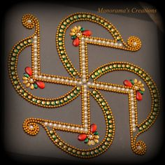 Floor Art - Swastik - Auspicious Hindu Symbol for Peace and Prosperity - Kundan Rangoli Design studded with Kundan Stones & Lab Synth Pearls