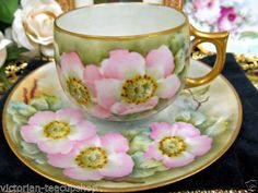 GERMAN TEA CUP AND SAUCER PAINTED PRETTY FLORAL TEACUP PATTERN SIGNED <br/>Cups & Saucers - 63525