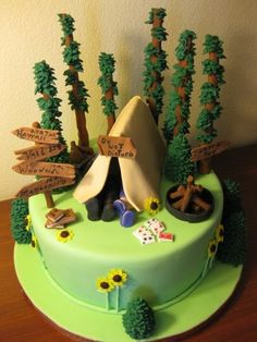 The Camping Cake. This is a covered in fondant all elements are in fondant. For a bridal shower. Camping Theme Cakes, Camping Birthday Cake, Fancy Cakes, Cute Cakes, Bolo Minnie, Bolo Cake, Novelty Cakes, Creative Cakes, Celebration Cakes