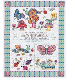 """Bug In A Rug Birth Announcement Counted Cross Stitch Kit-9-3/4""""X12-3/4"""" 14 CountBug In A Rug Birth Announcement Counted Cross Stitch Kit-9-3/4""""X12-3/4"""" 14 Count,"""