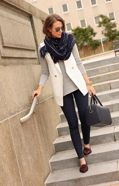 Navy Pinstripe| Penny Pincher Fashion - love this scarf! And I like the grey with navy blue color scheme.