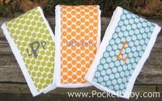 PERSONALIZED Burp Cloths Set of 3 You Choose Your by Pocketbaby