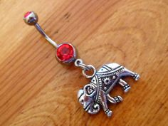 Belly button ring  Elephant with Red Gem by ChelseaJewels on Etsy, $10.00