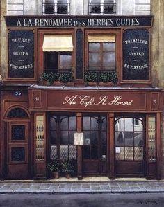 red bench vintage — ysvoice: | ♕ | Au Café St-Honoré, Paris | via...