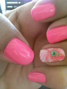 Pink nails with cute decoration