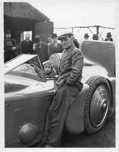 Sir Malcolm Campbell with the Campbell-Napier-Railton Bluebird, 1930 (with Donald in the seat)