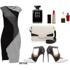 LOVING IT.... BLACK & WHITE ♠️ by betty-sanga on Polyvore featuring Lattori, Christian Louboutin, Kate Spade, Kevyn Aucoin, Chanel and Tom Ford