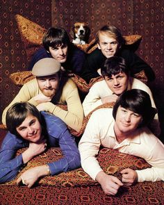 """The Beach Boys in the 60s, with photo-bombing pooch called """"Banana""""    Taken in the mid 1960s, The Beach Boys were one of the few US groups that were about before the British Invasion and had continued success, but this was near the end for the as a sextet.    Featuring Brian Wilson, Dennis Wilson, Carl Wilson, Mike Love, Bruce Johnston and Al Jardine"""