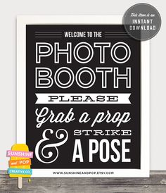 INSTANT DOWNLOAD - DIY Printable Photo Booth Sign - Vintage Wedding photobooth printable birthday party prop Pdf 8x10 and 11x14