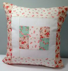 Shabby chic roses patchwork pillow pinks by PillowtasticPlus, $28.00