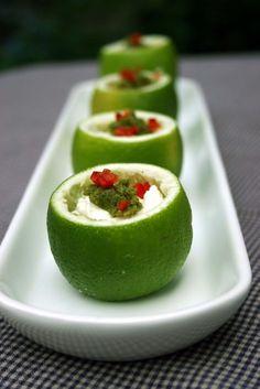 Mozzarella & chilli stuffed limes: veggie BBQ dish