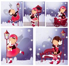 Elements of girl snowflake style Vector