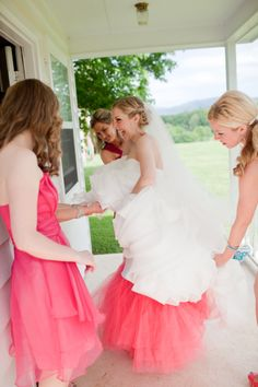 LLOOOVVEE!!!!!  A bright pink crinoline spices up Mrs. Blue Whale's wedding dress | Brenda Upton Photography