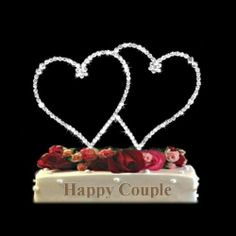 NEW DOUBLE HEARTS WEDDING CAKE TOPPER WITH SPARKLING SWAROVSKI RHINESTONES