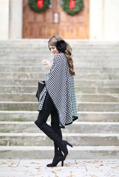 Houndstooth Cape + My Outfit is 25% Off!