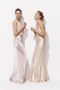 These slinky satin maxi dresses by Ghost in shimmering shades of blush pink and oyster are surely the dream deal for every bridesmaid-to-be? Cut on the bias for the most flattering fit, these dreamy dresses need only the simplest of accessories - a crystal cluster hair comb and nude heel - to complete the ethereal look.