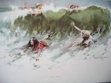 c1896 GIRL Lady Ocean Surf Beach Wave Print Walter Granville Smith A Popular Wave Bathing Costume Hat