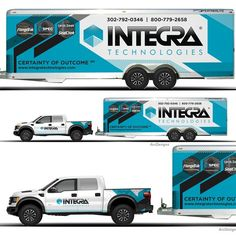 Truck trailer combination wrap for Integra Van Signage, Vehicle Signage, Vehicle Branding, Custom Trailers, Van Wrap, Truck Decals, Car Trailer, Hot Rods, Truck Design