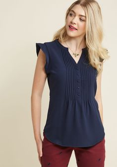 Expert In Your Zeal Button-Up Top in Navy