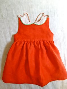 Red Linen Dress with Peter Pan Collar & Vintage Cotton Lining. $62.00, via Etsy.