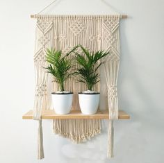 """PLEASE NOTE: This item is shipped direct from our overseas warehouse and product supply partner. Delivery normally takes around 6-10 days after processing and Carbon Offset is available for this service. This bohemian macrame plant hanger is perfect for adding that extra """"something"""" to your space or event.this unique wall hanging will brighten any room. This vintage-meets-modern macrame wall hanging tapestry inspired by tribal objects, ethnic art, aztec decor and boho decor.Unique design, after Rope Plant Hanger, Macrame Plant, Macrame Cord, Macrame Curtain, Macrame Knots, Aztec Decor, Wall Hanging Shelves, Corner Shelves, Floating Shelves"""