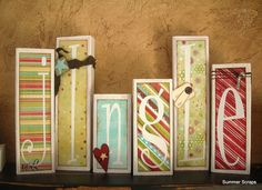 Jingle Christmas wood blocks with paper and vinyl