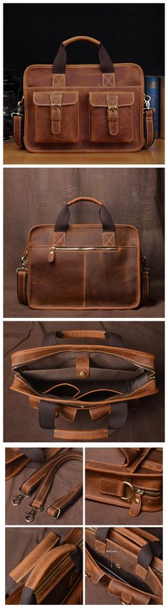 Leather Briefcase for Men, Classic Laptop Bag JZ019