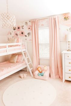 Project Nursery - Shared Girls Room with Floral Wallpaper and Board + Batten Wall